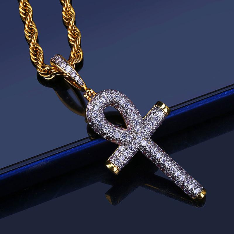 Luxury Cubic Zirconia Hiphop Cross Pendant Necklaces For Men Bling Ice Out Hip Hop Jesus Jewelry 18K Gold Plated Necklace