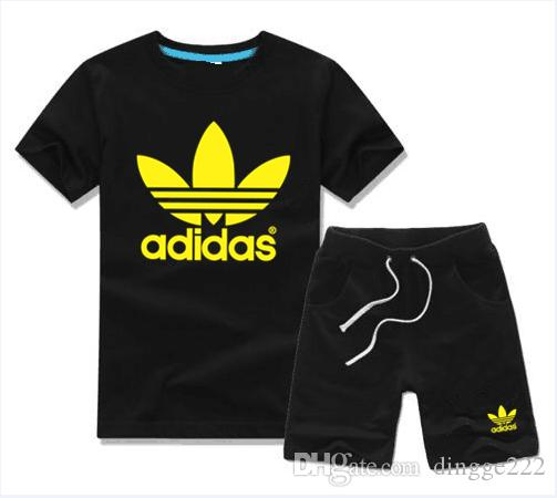 HOT 2018 Hot stamping Baby Sport Suit 2Pcs Set boy Kids Sets Kids T-shirt And Pant Children Cotton Sets Baby Boys Girls Summer Suit
