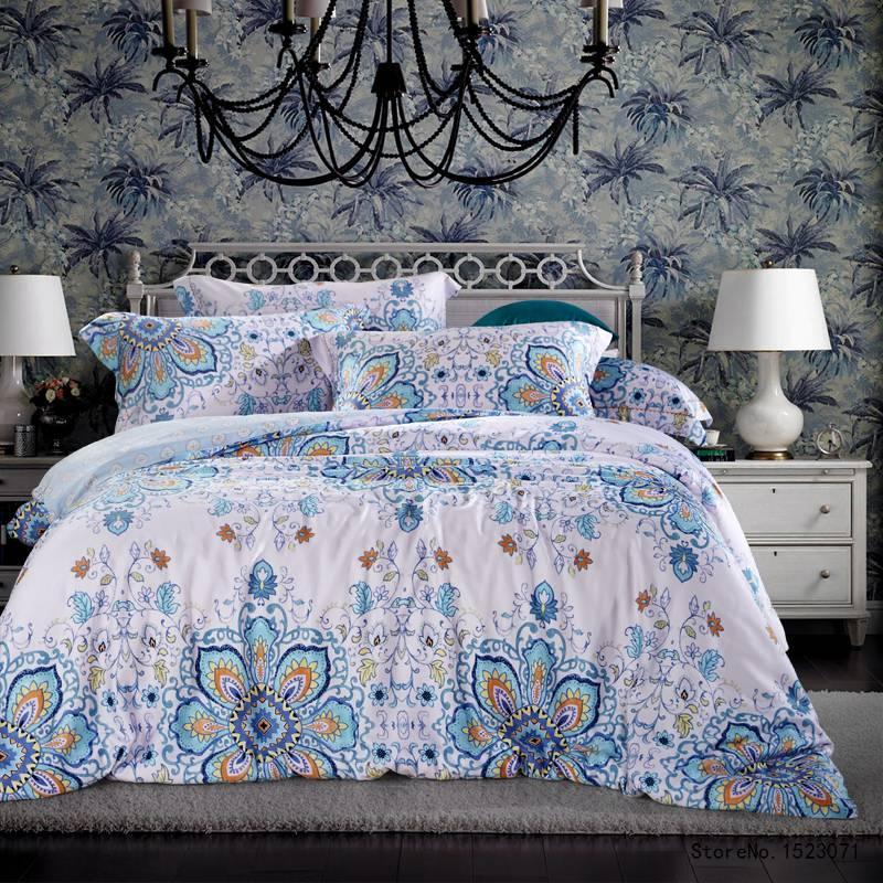 Tutubird Light Blue Bohemian Vintage 100% Bamboo Fiber Silk Feeling Bedding  Set Boho Super Soft Bedclothes Parure De Lit Adults Turquoise Bedding Cheap  ...