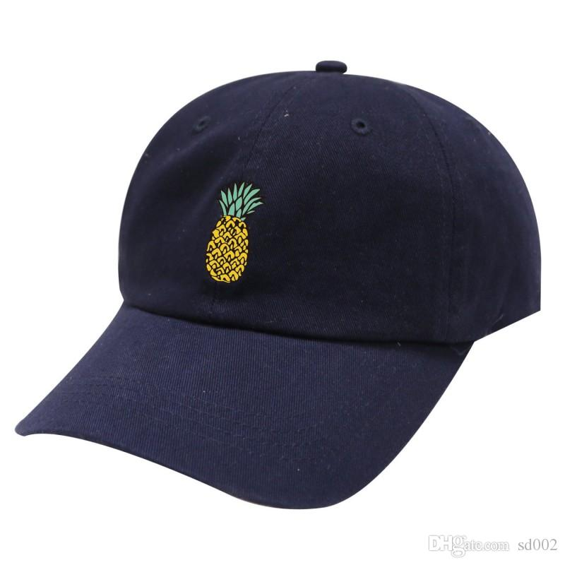 Black Printed Snapback Soft Pineapple Pattern Peaked Cap Easy To Carry  Elastic Summer Hats New Arrival 4 5dl BB Hats Cap Snapback Online with   1.93 Piece on ... 421c54b04778