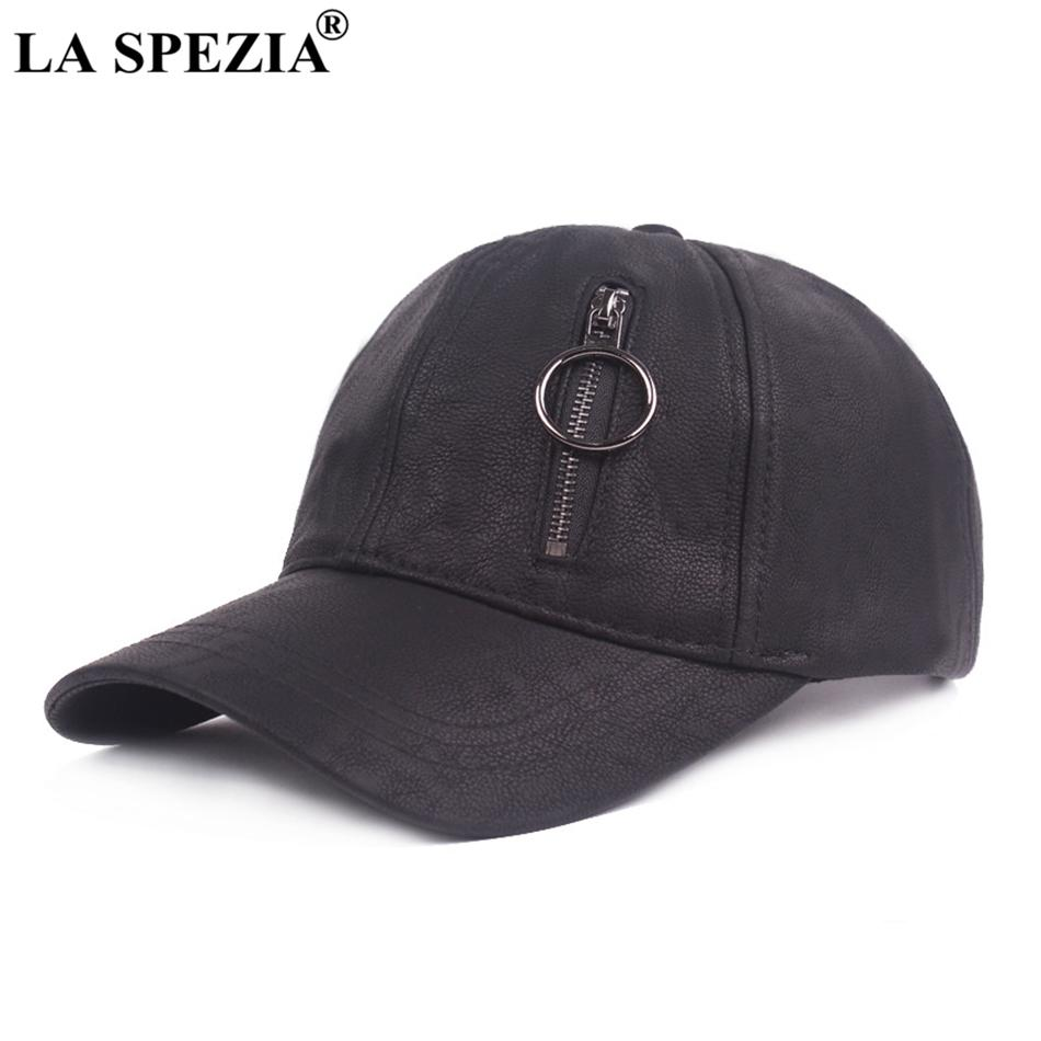 e287f0fe035 LA SPEZIA Leather Baseball Cap Men Casual Black Dad Cap Male Adjustable  Zipper Ring Snapback Hat Ivy Classic Autumn Baseball Hat Caps Hats Fitted  Cap From ...