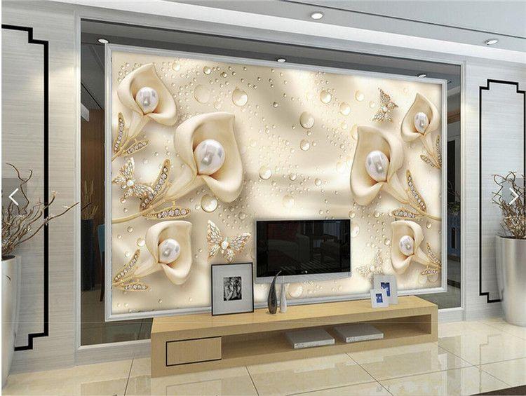 3D Geprägte Blume Schmuck Perlen Fototapete Wandbild Wohnzimmer Sofa TV Hintergrund Wand-dekor papier peint 3d Benutzerdefinierte Größe