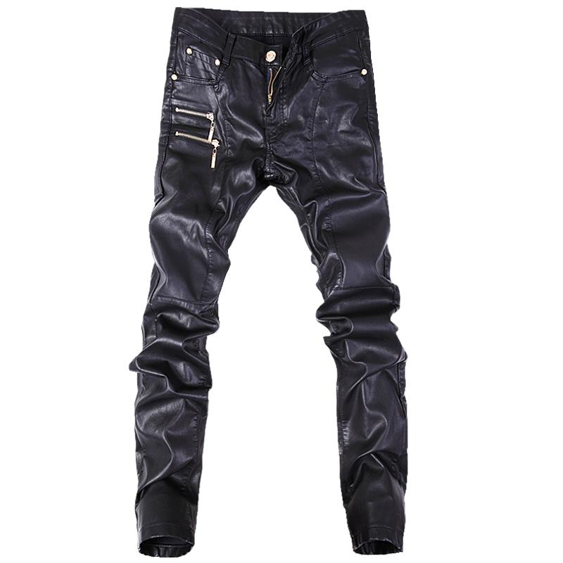 82241a08d5d2f New Fashion Men Leather Pants Skinny Motorcycle Straight Jeans ...
