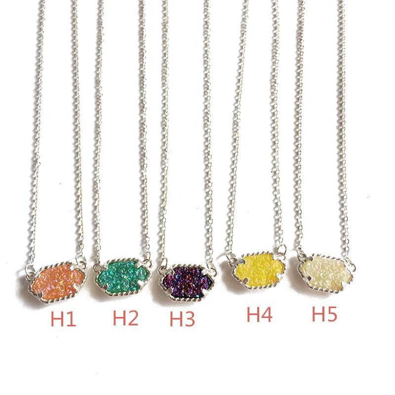 Moda druzy drusy collar pendientes kendra plata chapado en oro de piedra natural imitación scott collares pendientes para mujer joyería de la marca