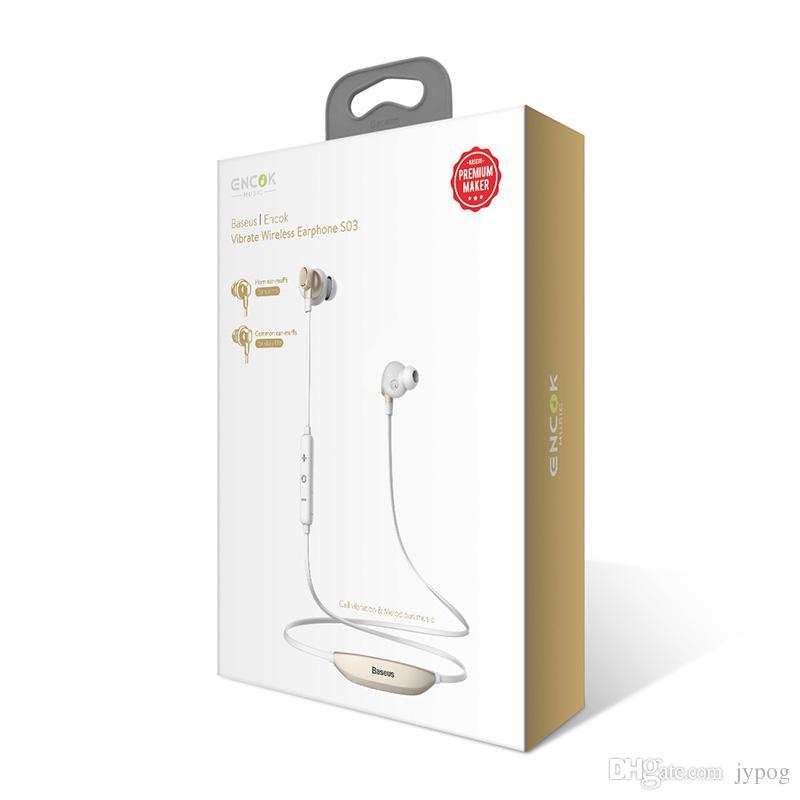Наушники Bluetooth Baseus S03 Inear Беспроводная интеллектуальная магнитная функция Наушники Спортивный шейный наушникStereo Bass Universal для телефона