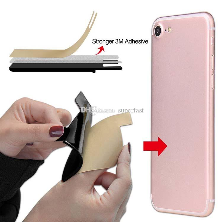 Silicone Wallet Credit Card Cash Pocket Sticker 3M Adhesive Stick-on ID Credit Card Holder Pouch For iPhone Samsung Mobile Phone Opp Package