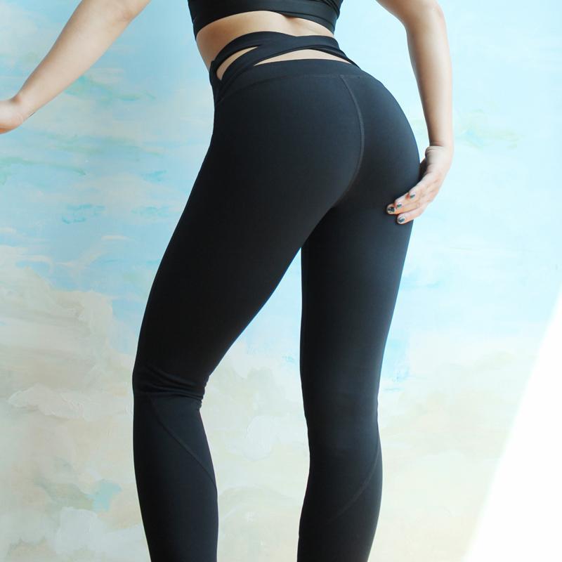 d87c28a7e0411 2019 BESGO Women Solid Color Back Cross Exercise Yoga Pants High Waist  Elastic Slim Fit Jogging Leggings Female Workout Sportswear From Capsicum,  ...