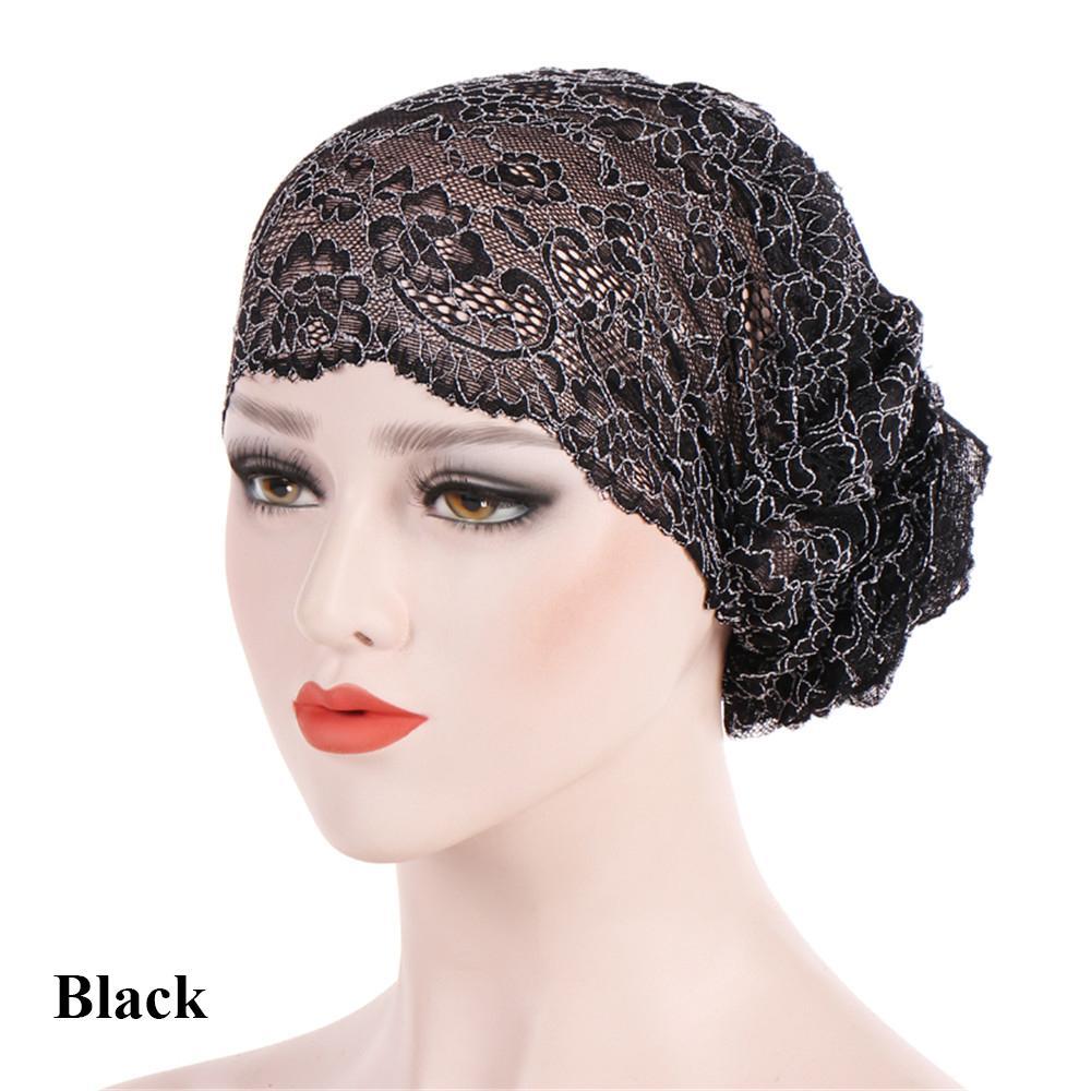Acheter 2018 Hiver Printemps Femmes Turban Dormir Bonnet Head Wrap Dentelle  Islamique Hijab Chapeaux Musulman À Volants Cancer Chemo Bonnets Chapeau De