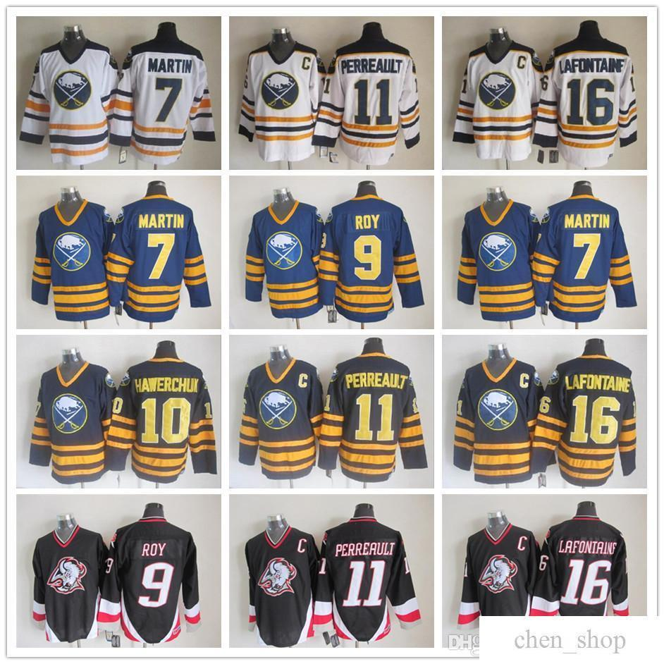 4b50d664b 2019 Men Vintage CCM Stitched 7 Rick Martin Buffalo Sabres Hockey Jersey 9 Derek  Roy 11 Perreault 10 Hawerchuk 16 LaFontaine Black Blue White From Chen shop  ...