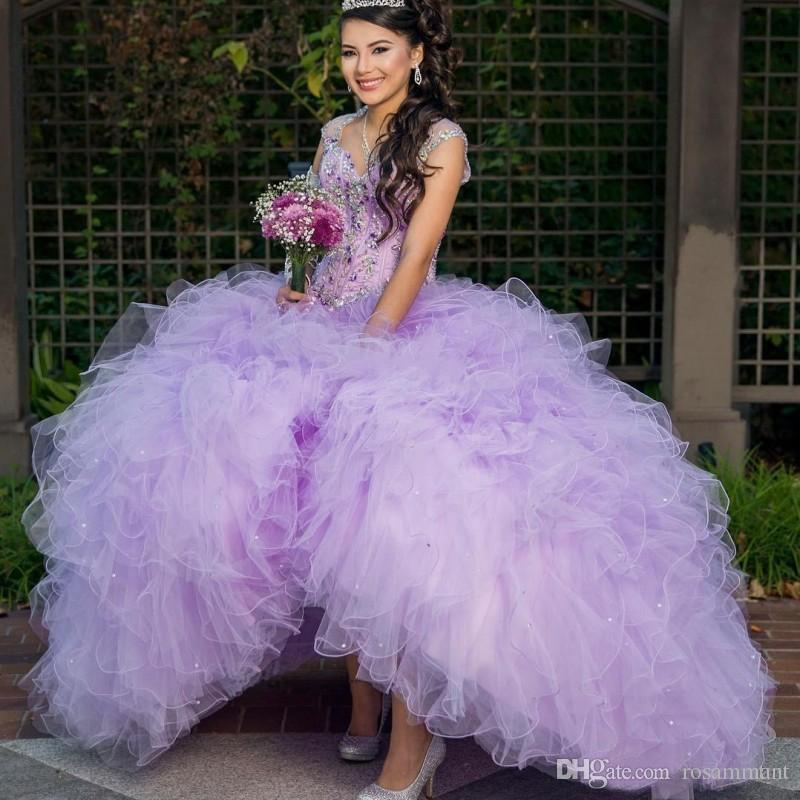 Cap Sleeve Ball Gown Quinceanera Dresses Feather Organza sweet 16 dresses Beaded Sleeveless Long Prom Dresses
