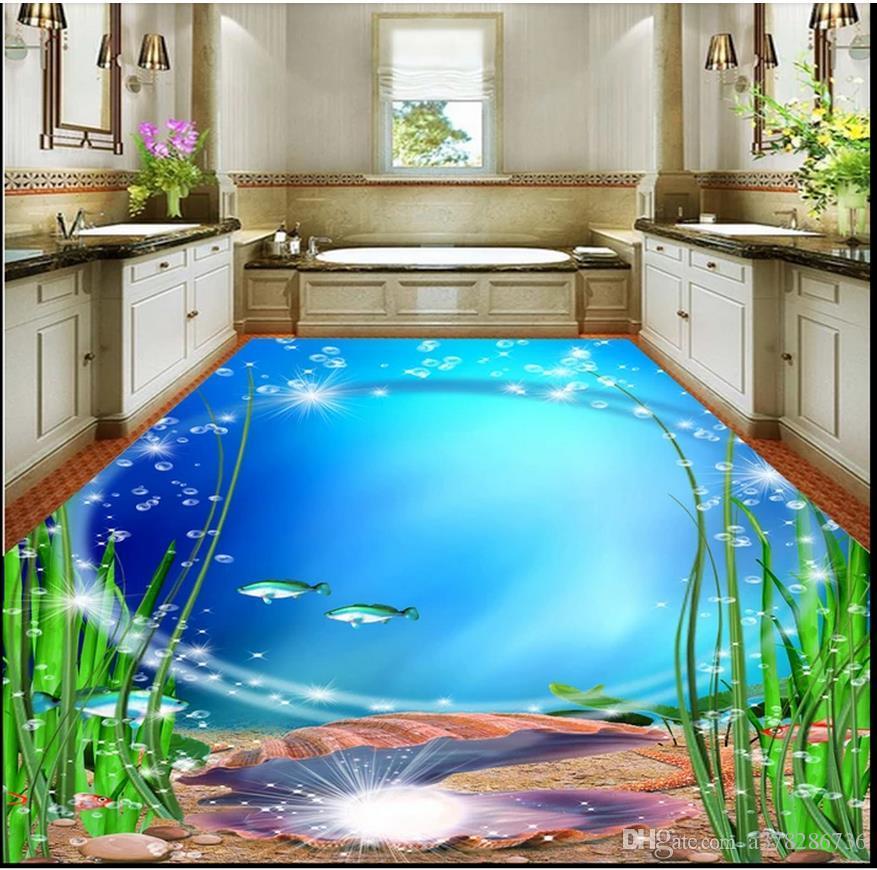 Wallpapers 3d Floor Painting Wallpaper Ocean World 3d Painting Flooring Waterproof Wallpaper For Bathroom 3d Floor 3d Wallpaper