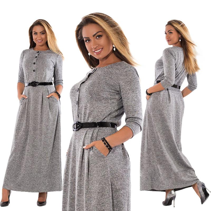 2019 5XL 6XL Robe 2018 Autumn Winter Dress Big Size Elegant Long Sleeve  Maxi Dress Women Office Work Dresses Plus Size Women Clothing From Maoyili 374bf29eda3c