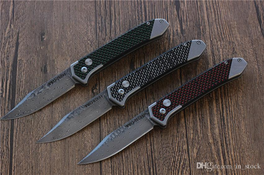 Protech carbon fiber Handle Spring Assist Tactical folding knife Damascus steel blade Outdoor knives camping Survival pocket knife
