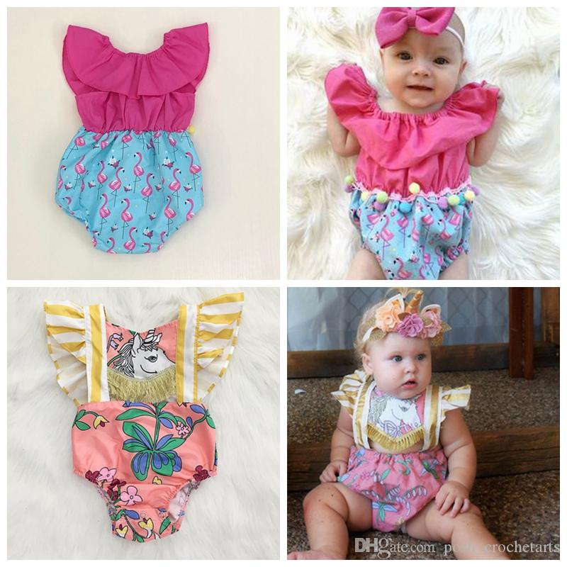 3443a2a9cfbe 2019 Unicorn Rompers For Baby Girls Summer Infant Clothes Flamingo ...