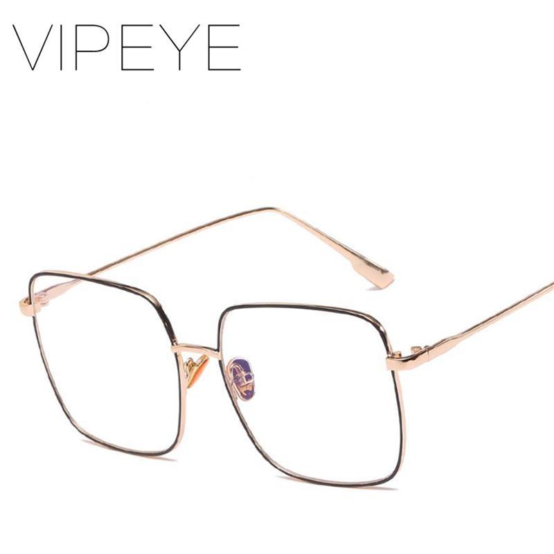 2667e18a28f Big Frame Square Eye Glasses Frame Women Men Metal Clear Glasses Anti-UV Decoration  Eyeglasses High Quality Eyewear Frames Cheap Eyewear Frames Big Frame ...