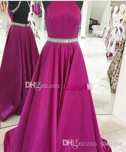 2018 Fuchsia Satin Prom Dresses Halter Beading Backless Floor Length Red Royal Blue Evening Dresses Long Graduation Homecoming Party Dresses