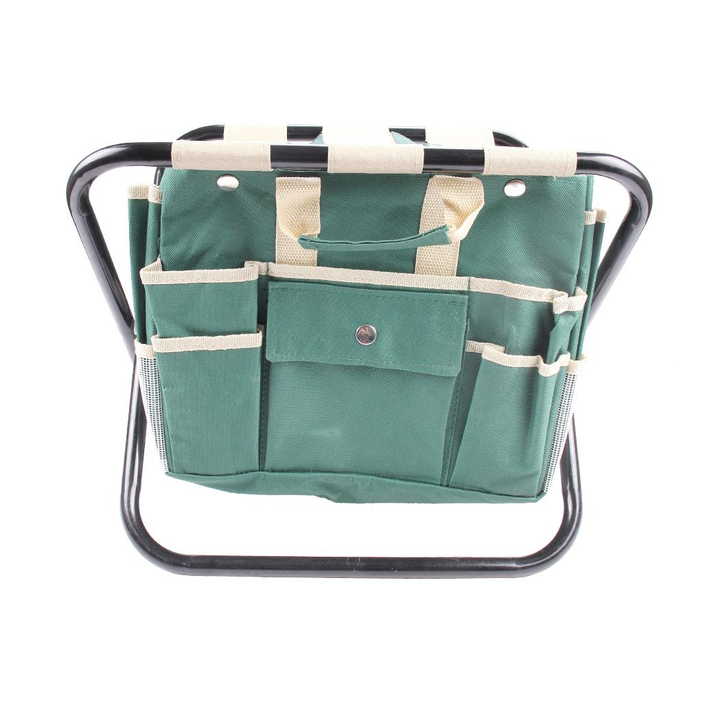 Garden Tool Set With Folding Steel Stool And Detachable Canvas Tool Tote Bag All-In-One Tool Bag With Multiple Pockets Green