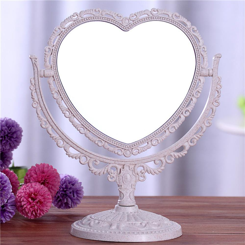 Double Sided Make Up Cosmetic Heart Shaped Mirror Shaving Bath Table