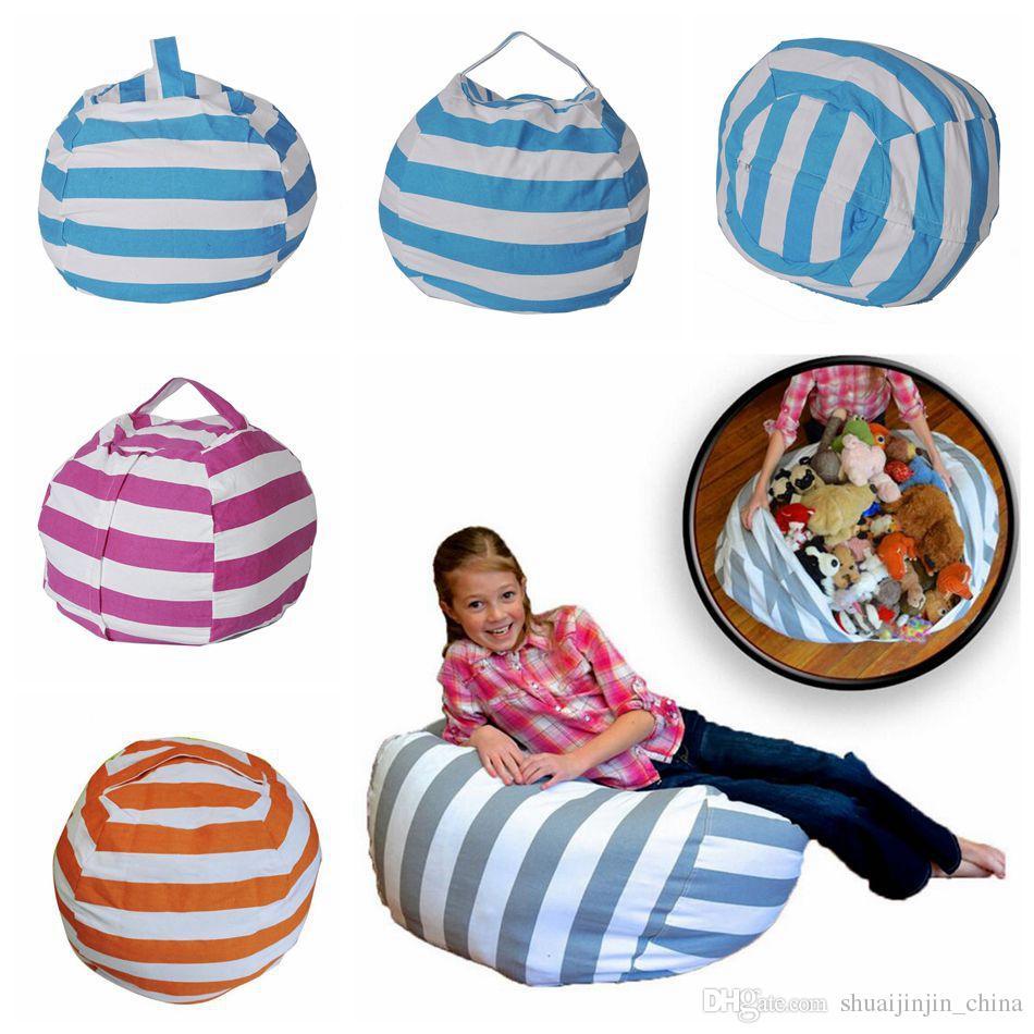 Stripe Bean Bag 18 Inch Beanbag Chair Kids Bedroom Stuffed Animal Dolls  Organizer Plush Toys Bags Baby Play Mat Ooa4353 Purse Organizer Insert  White ...