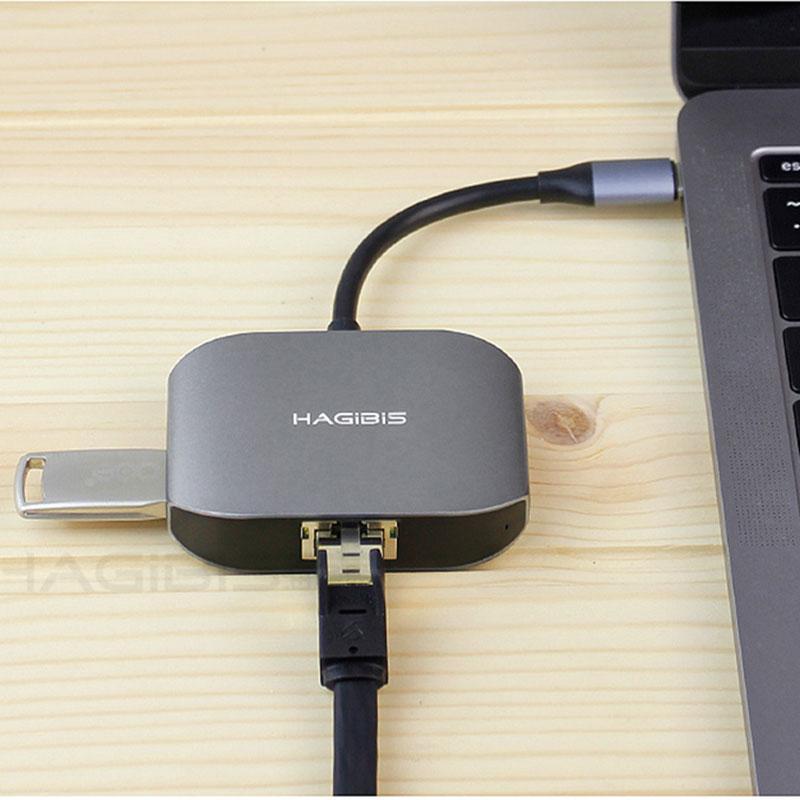Hagibis USB-C Ethernet Adapter with USB 3.0 Hub External Type-C RJ45 Network Card Lan Adapter for Apple Macbook USB-C Type-C Hub