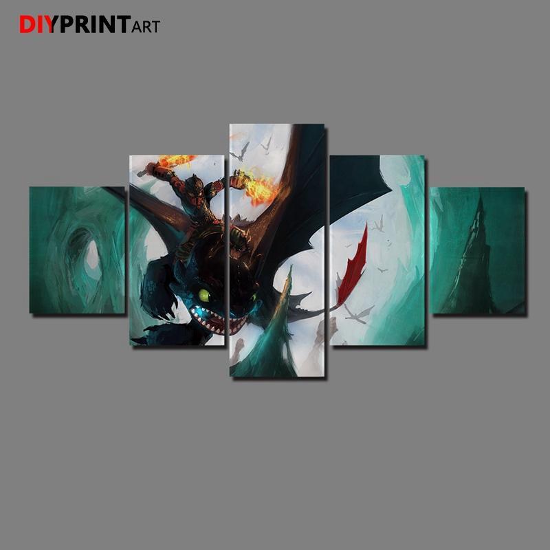 Satın Al Dişsiz Ejderhanı Nasıl Eğitirsin 5 Panel Tuval Duvar Sanatı