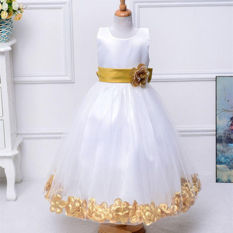 Rose Petal Girl Dress Bow Tie Long Dresses Wedding Flower Girls Ball Gown Party Prom Princess Dress Summer Kids Girl Clothes
