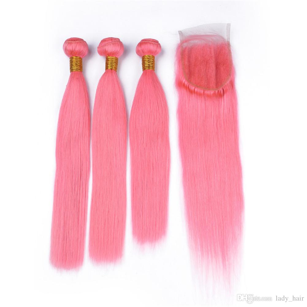 Malaysian Pink Virgin Hair Weaves Extensions with Lace Closure 4x4 Silky Straight Colored Pink Human Hair 3 Bundle Deals with Closure