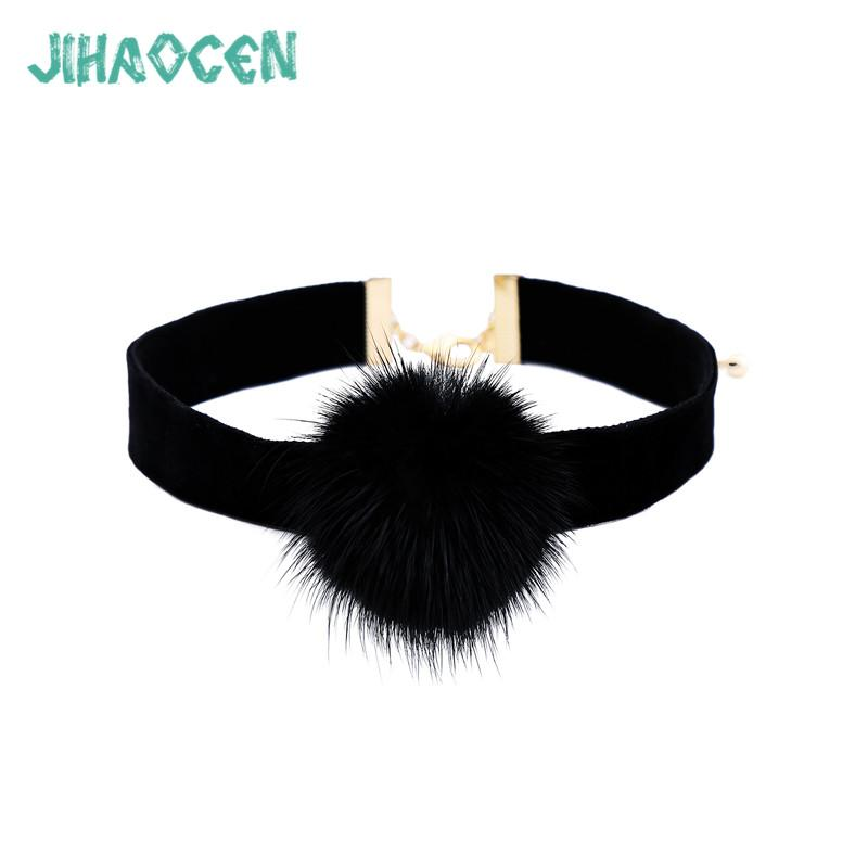 Collares Largos De Moda Black Neckband Female Hair Ball Accessories Necklace Sister Chain Sieraden Wholesale Jewelry Lots
