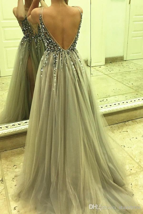 2018 Custom Gray Deep Plunge Sexy Prom Dress Top Beaded Spaghetti Floor Length Tulle Formal Party Gowns Split Modest Low Back Evening Wear