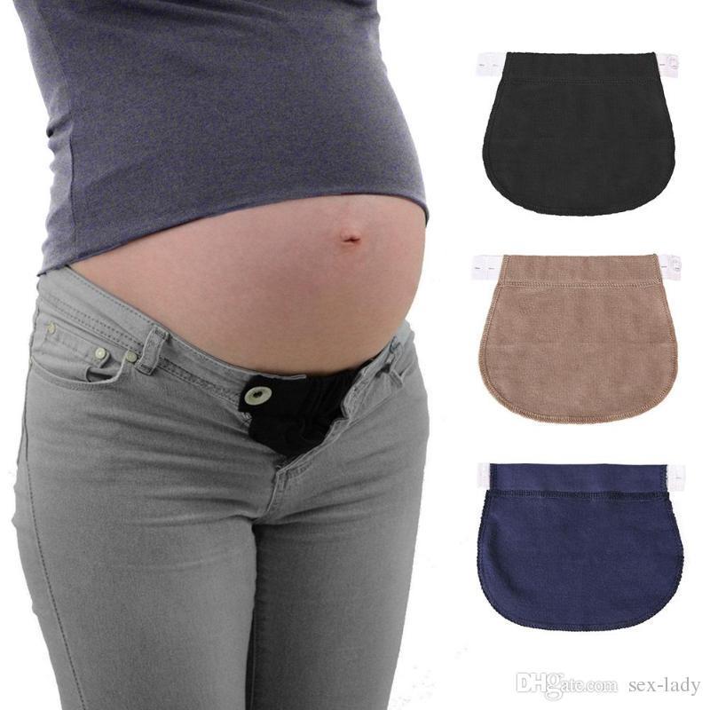 86c5fbcdd Compre Maternidad Embarazo Cinturón Cinturón Ajustable Pantalones Elásticos  Botón Extendido Ajustable Cintura Elástica Extender Cinturón Ropa De  Maternidad ...