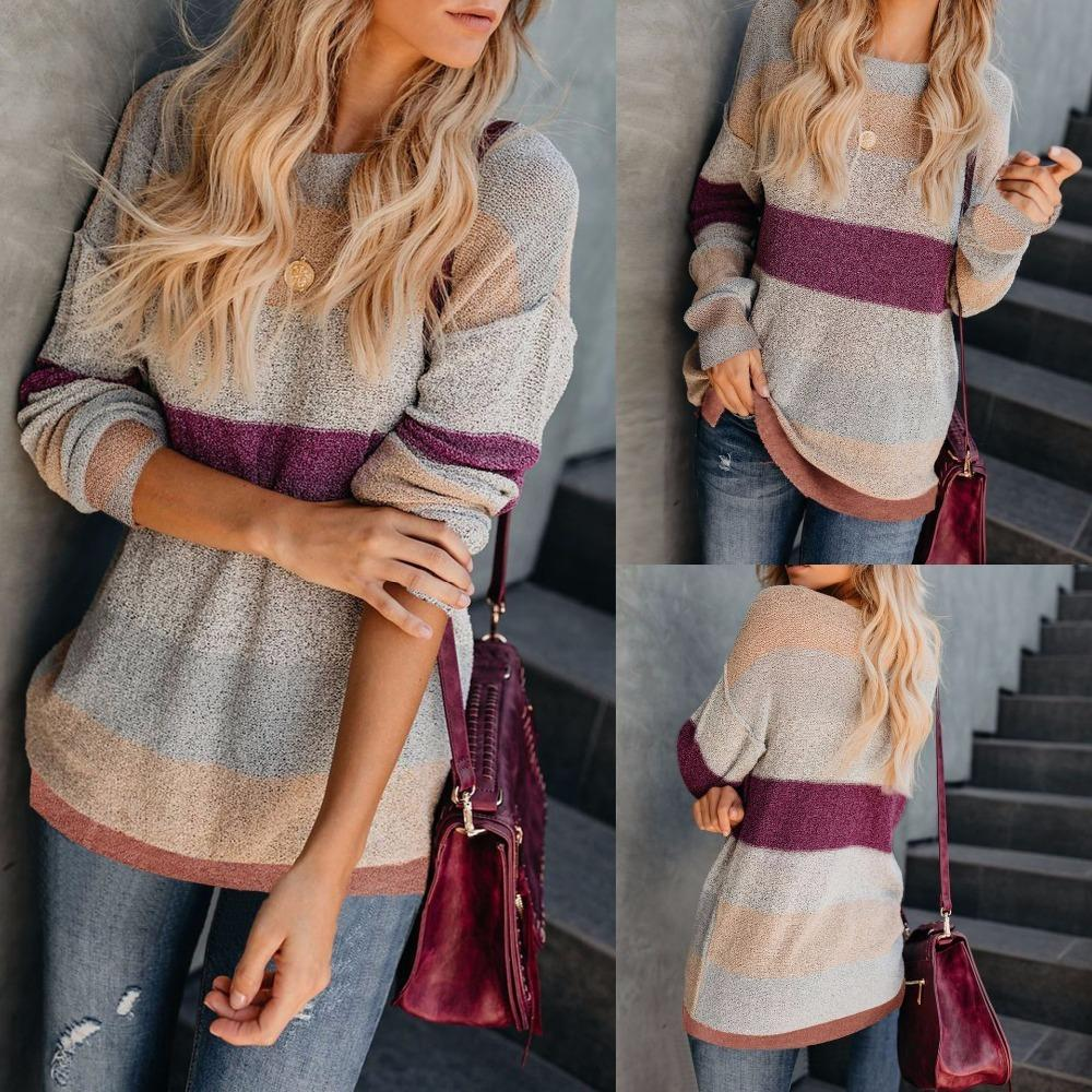 10df428d622f Women Fashion Patchwork Sweater 2018 Autumn Winter Long Sleeve Knitted O-Neck  Pullover Sweaters Online with  40.94 Piece on Qinfeng02 s Store
