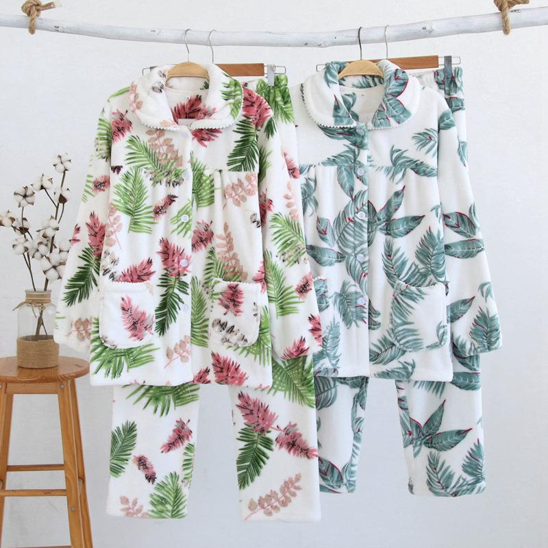New Thickening Women Winter Flannel Pajamas Female Coral Fleece Pajama Sets  Sleepwear Velvet Long Sleeve Casual Nightgown Nighty UK 2019 From Crape 14e0e7369
