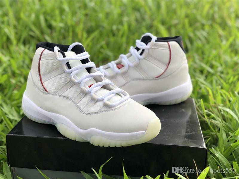 d3d7af59188056 2018 Authentic 11 Platinum Tint 11S Red Gery White Basketball Shoes For Men  Real Carbon Fiber Sneakers With Original Box 378037 016 Shoes Sports Sports  ...