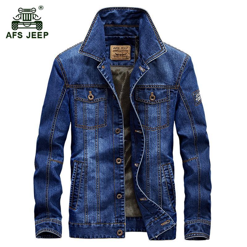 ac523715ec8c Compre AFS JEEP 2018 Outono Dos Homens Moda Casual Marca De Alta Qualidade  De Algodão Jaqueta Jeans Casaco Homem Primavera Denim Azul Casacos Casacos  M 4XL ...