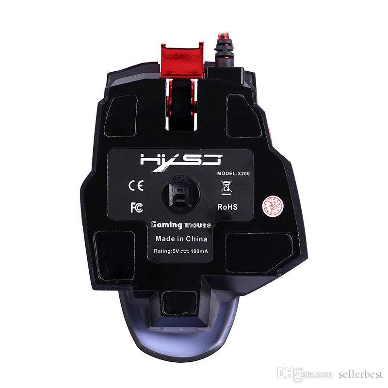 HXSJ X200 Macro Mouse da gioco regolabile 4000 DPI USB con cavo programmabile Gamer Mouse 7 tasti Periferiche 4 Retroilluminazione Computer portatili Desktop