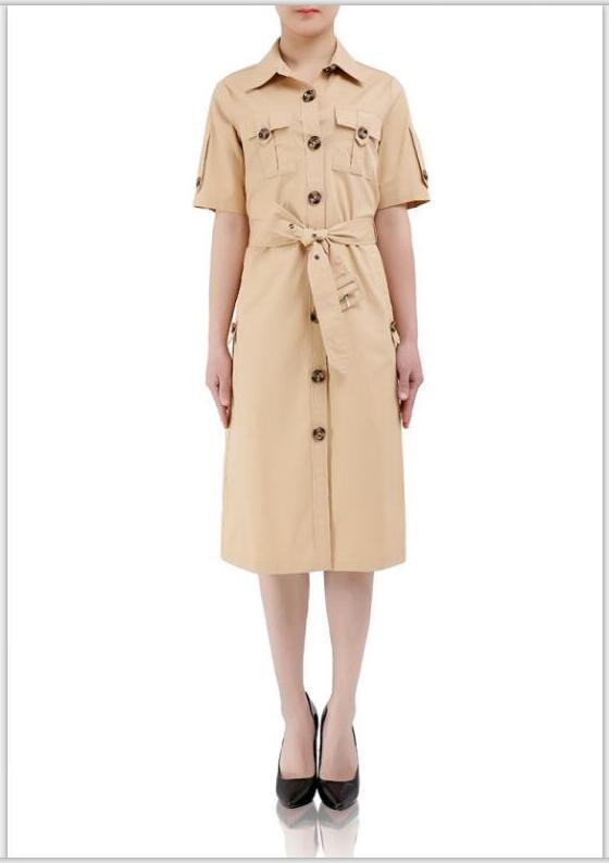 Kleiderkurzschlußhülse kahaki Baumwolle einreihiger Revershals 2018 Neue Frauen Kleidungsart und weise beiläufige Kleiderstraßenart kleidet 4 Farben an