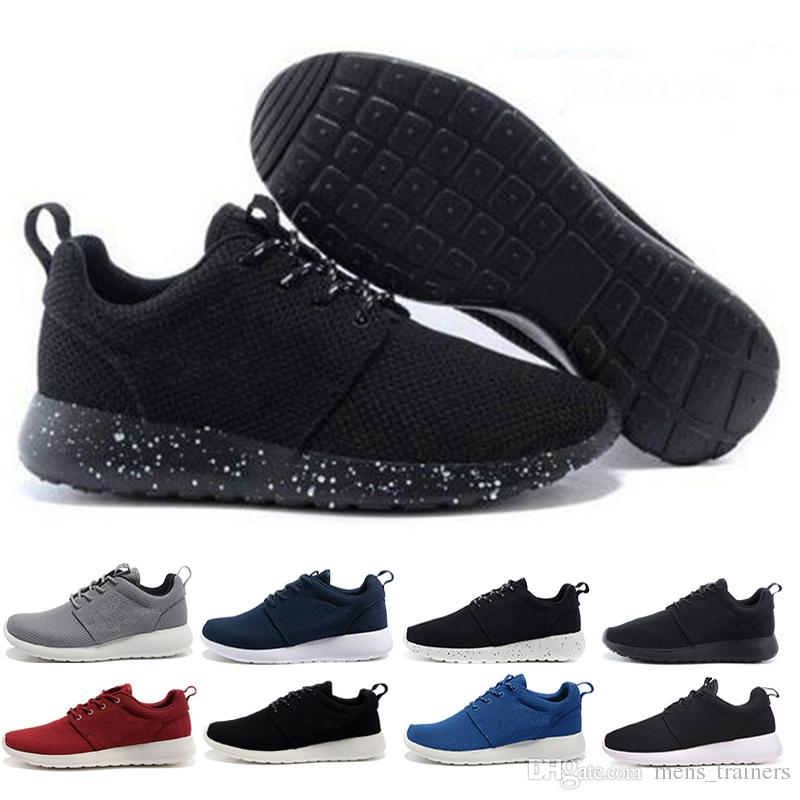 b166210e748 Compre Nike Air Roshe Run One Top Trend Wear Run Running Shoes Hombres  Mujeres Rojo Con Blanco Todo Negro Con Blanco Transpirable London Olympic  Sports ...