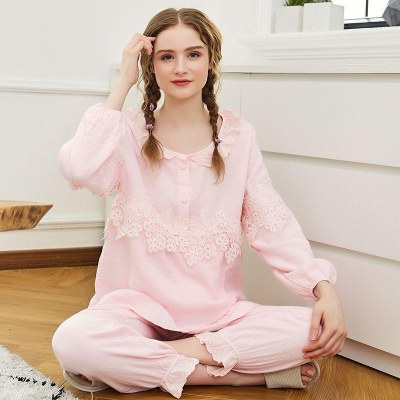 50227b58ddc14 2019 Maternity Pyjama Nursing Sleepwear Breastfeeding Pajamas Comfortable  Cotton Gauze Long Sleeve Tops&Pants Pregnancy Clothes A220 From Bradle, ...