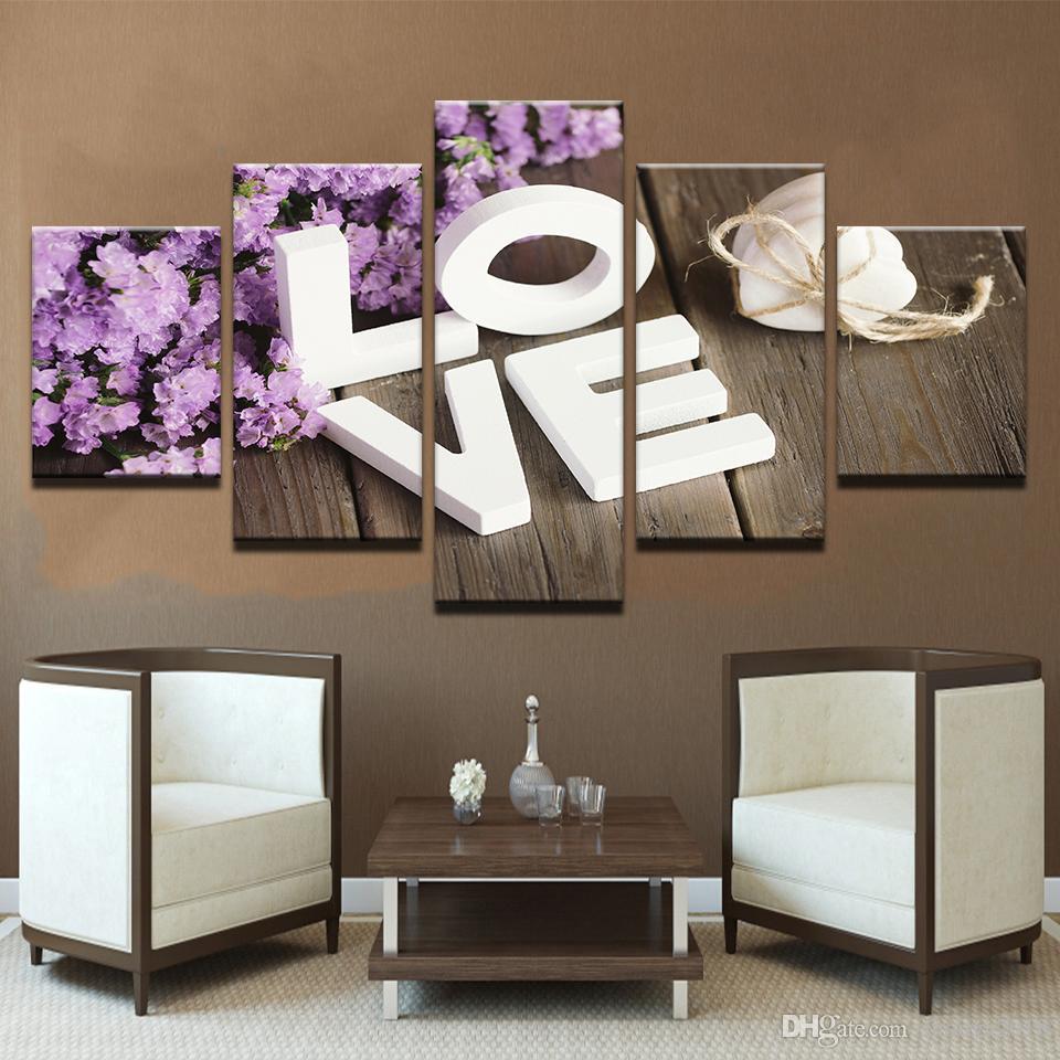 Бесплатная доставка модульные фотографии номер стены искусства 5 шт. фиолетовый Гиацинт цветок холст картины HD печатает любовь Кадр плакат