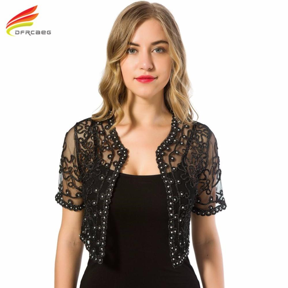 3d80ffe7080 Women Basic Coat 2018 Summer Style Women Perspective Shawl Fashion Hollow  Out Lace Boleros Short Sleeve Coats Jackets Female Y1891703 Spring Jacket  Womens ...