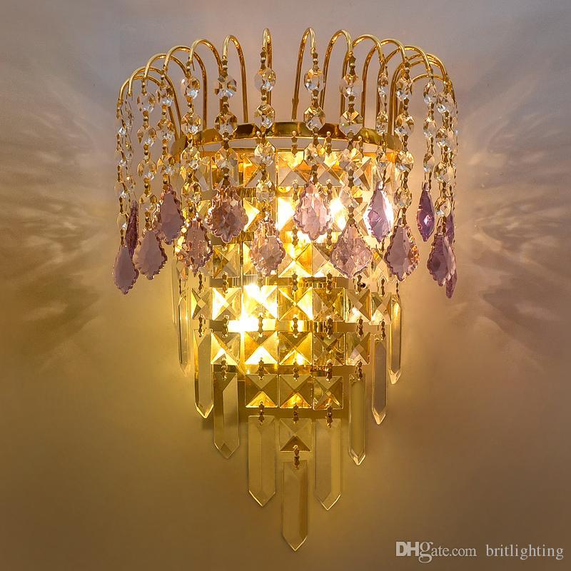 2018 Hotel Lobby KTV Golden Luxury Crystal Wall Lamp Living Room