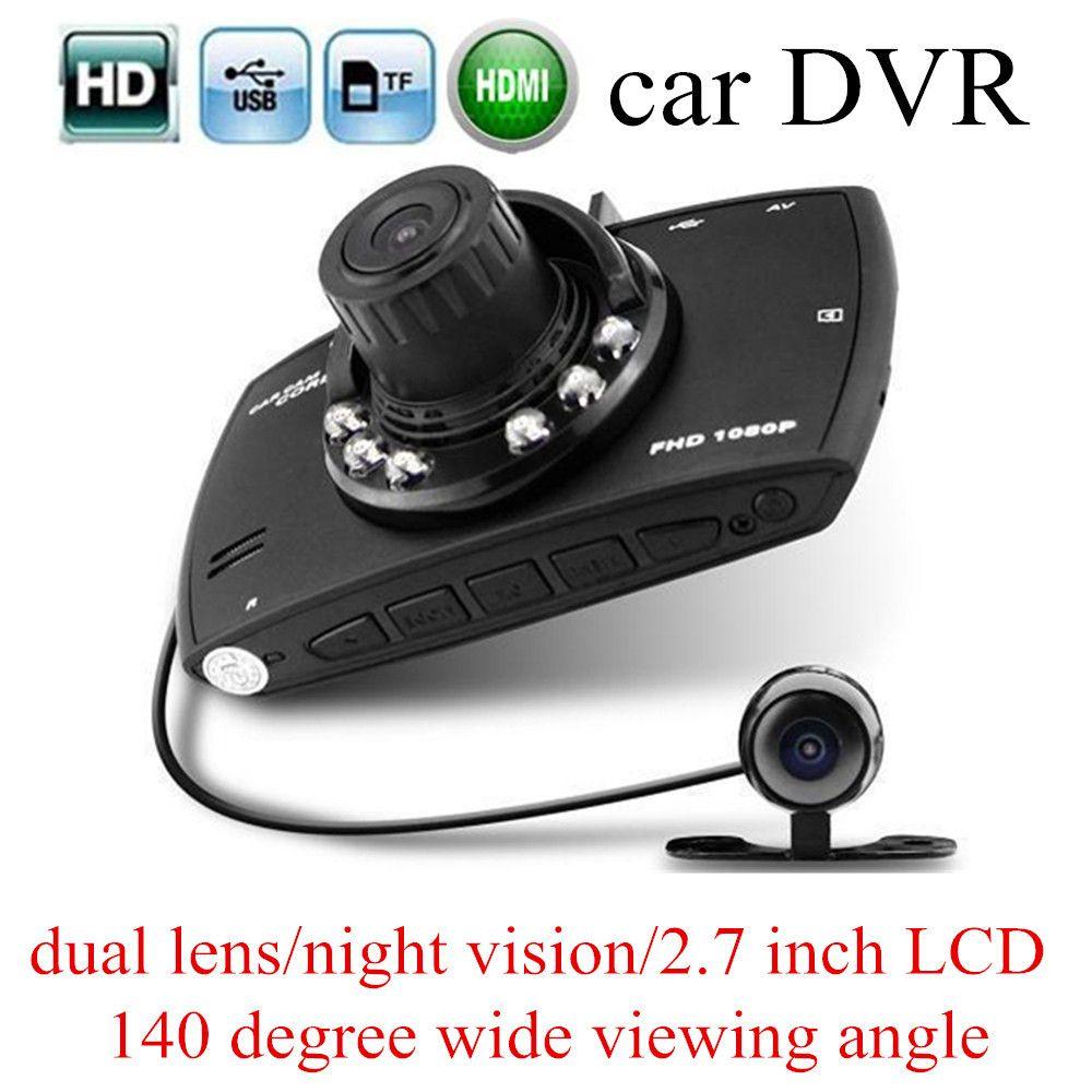 "G30 1080P Dual lens Double Camera Car DVR 2.7"" LCD G-sensor Night Vision Motion Detection Car Dashboard Cam"