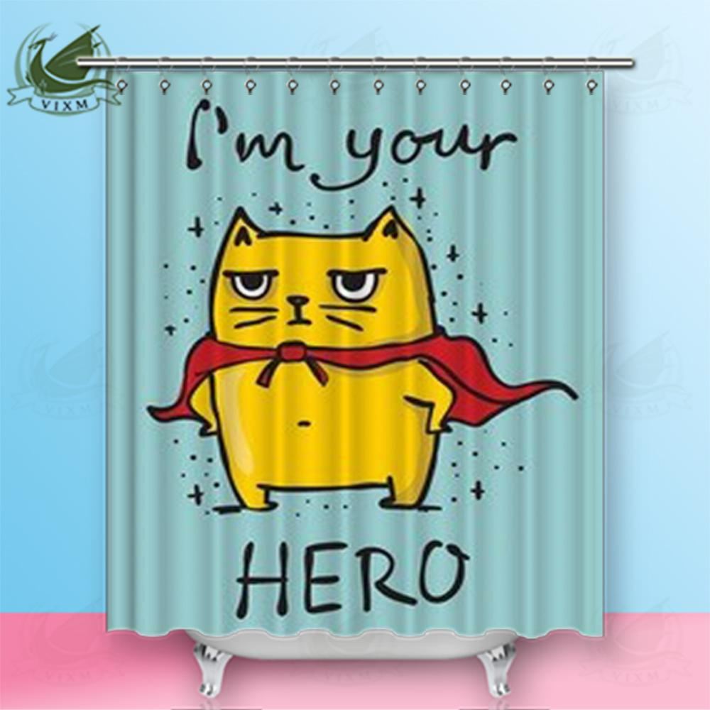 2019 Vixm Home Superhero Cartoon Cat Fabric Shower Curtain Nine