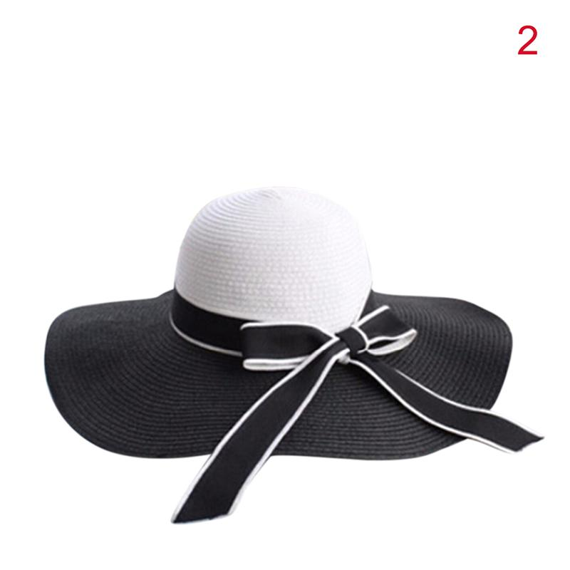 Fashion Summer Sun Hat Hepburn Wind Black White Striped Bowknot Beautiful  Women Straw Beach Hat Large Brimmed Hat Store Fedora Hats For Men From  Amoywatches ... 11aa8ccfb65