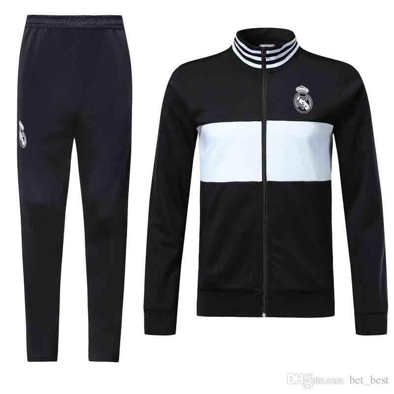 Compre Chaqueta De Moto Real Madrid 2018 2019 Chaqueta De Traje Pantalones  De Fútbol 2018 Chaqueta De Deporte Sportwear Negro Blanco A  14.58 Del  Bet best ... eb43bf9d7860c
