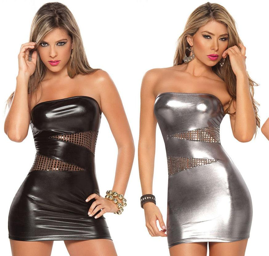 New Pvc Leather Sexy Lingerie Sexy Outfit Erotic Dress Up Sex Costume Lenceria Wrapped Short Dress For Women EE257 D18110701