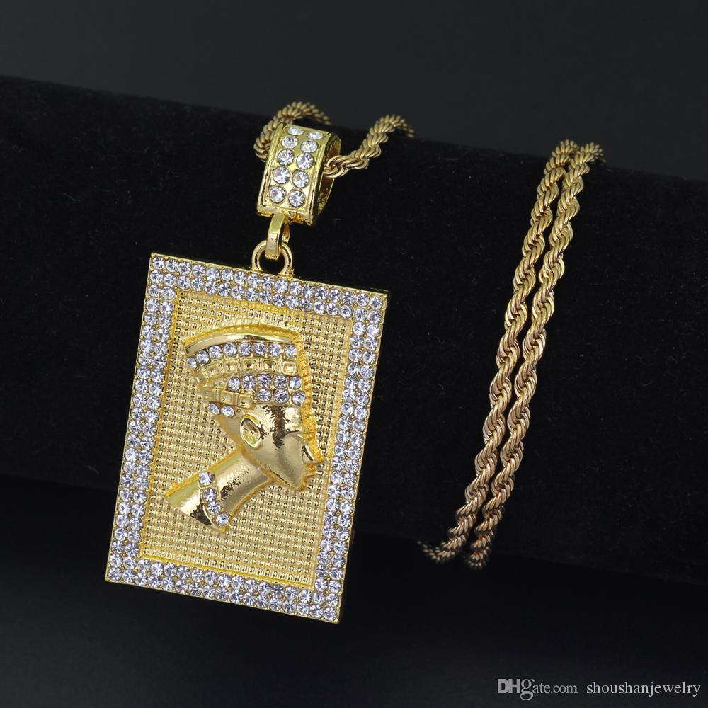 New Men's Iced Out Egyptian pharaoh Pendant Necklace Jewelry Bling Bling with 3mm 24inch stainless steel rope chain N673B
