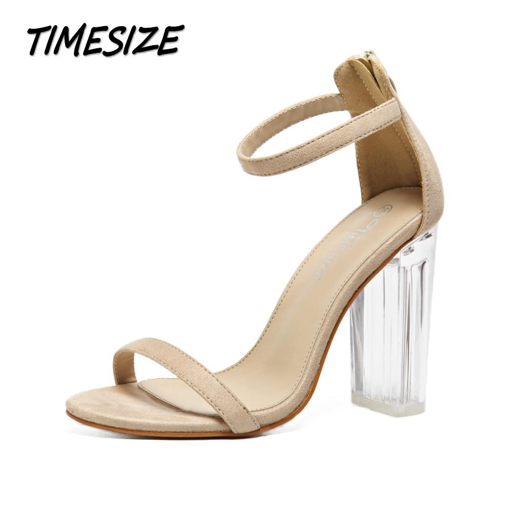 8d8a953b9d11 TIMESIZE Women Sexy Star Sandals Ladies Pumps High Heels Shoes Woman  Crystal Clear Transparent Ankle Strap Party Wedding Shoes Sandals High Heels  From Faaa
