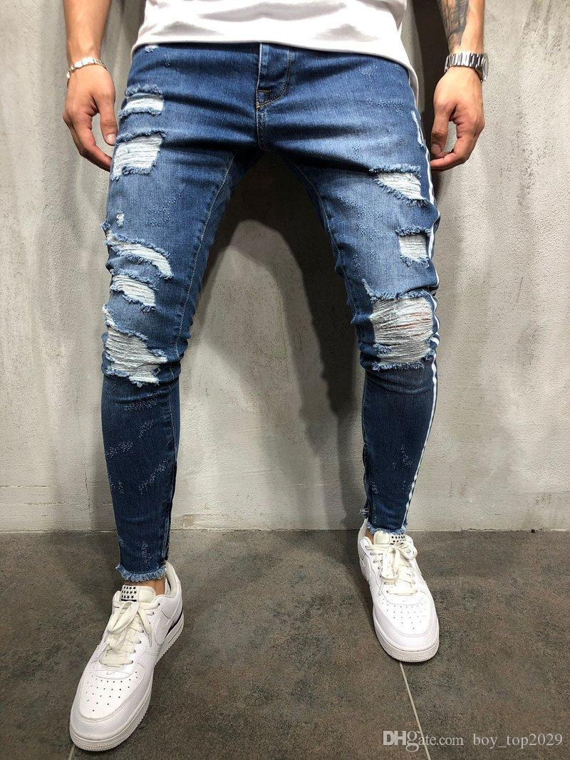 d01b703c4938 2019 Mens Fashion Denim Long Pencil Pants Side Striped Ripped Mens Jeans  Clothes Male Black High Street Slim Biker Jeans From Boy top2029