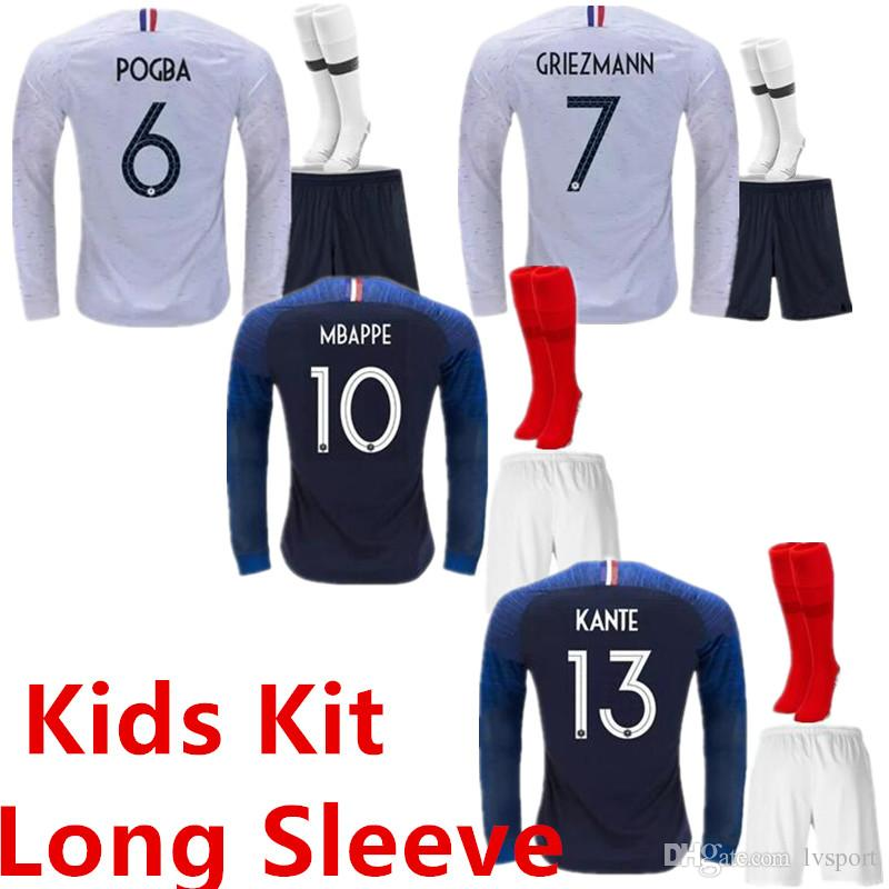 141d68afb5 Kids Kit Long Sleeve French 2 Stars Griezmann Mbappé Pogba Soccer ...